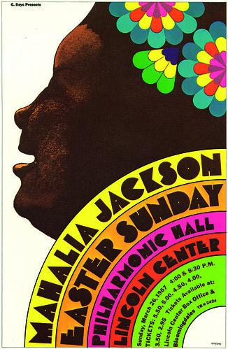 Concert poster for Mahalia Jackson, 1967, in which Glaser combines his Baby Teeth typeface and watercolour illustration with a vibrantly colourful design aesthetic.