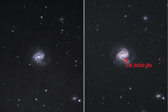 VCSE - Az M61 extragalaxis 2019. tavaszán (balra) és 2020. májusában. Részleteket lásd a szövegben.- Kép: Fridrich János Mihály