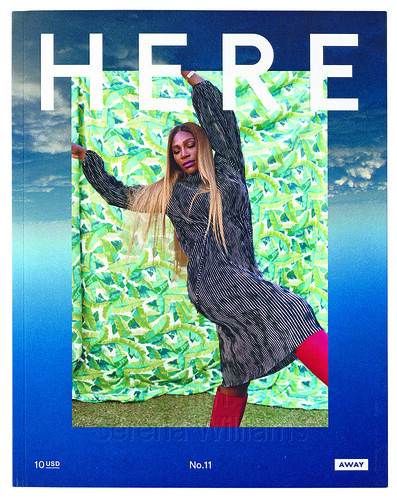Cover of Here magazine issue no. 11 (2020), co-designed with Natalie Shields. Portrait of Serena Williams by Shaniqwa Jarvis. Scheffe art directs this customer title for Away luggage.