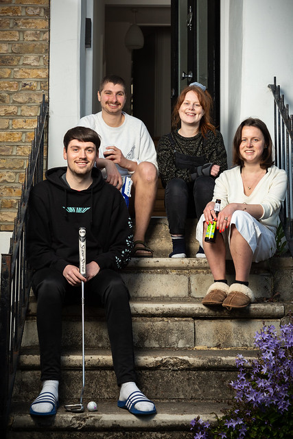 Max, James, Imogen, and Kara, in Stockwell