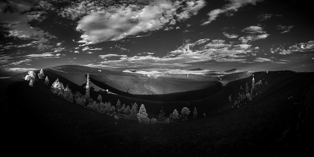 Cinder cone sunset, black and white