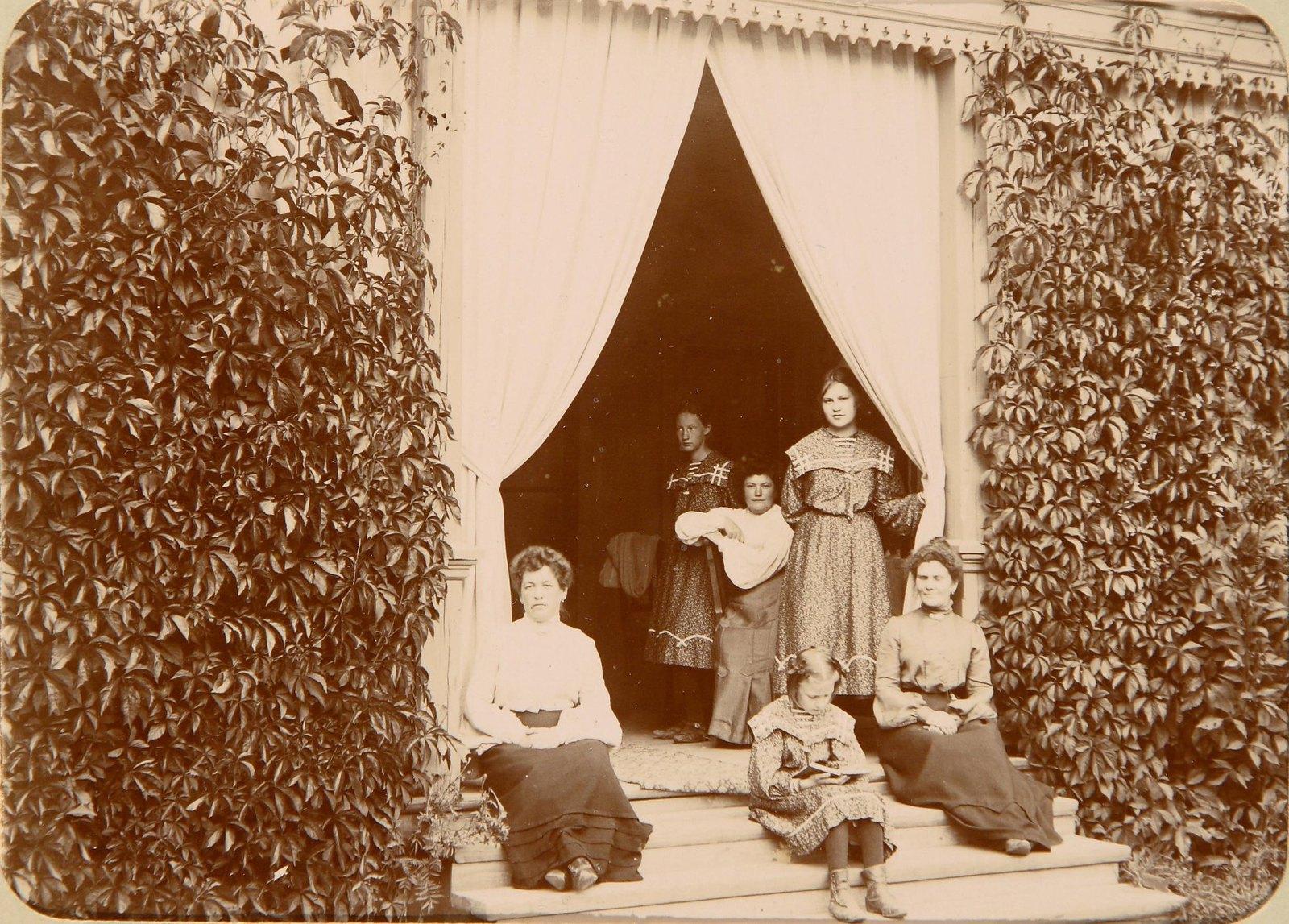 12. Группа дам на ступенях веранды, увитой плющом