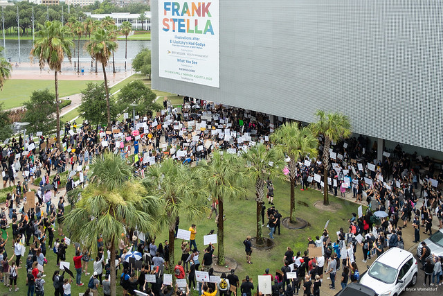 View from above Black Lives Matter protest in Tampa