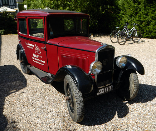An antique car in Lyons La Foret, France