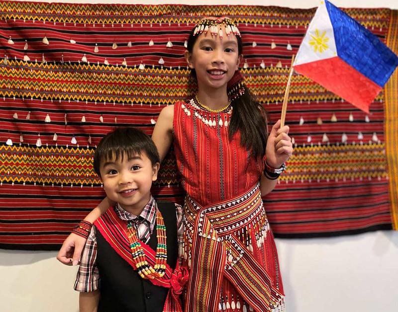 Yvaine and Elijah Betito wearing Filipino costumes