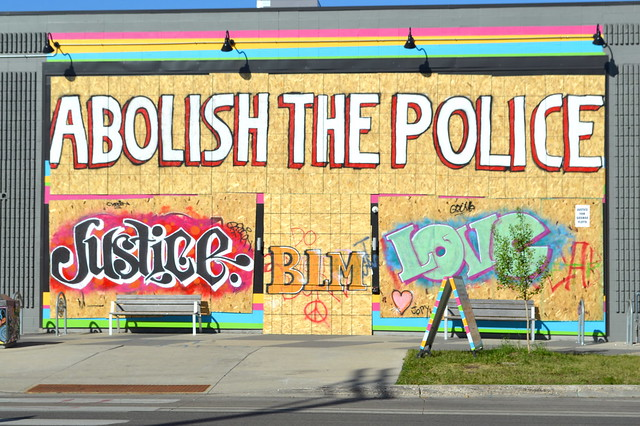 Abolish the Police Street art, George Floyd protest, Minneapolis, MN, June, 2020