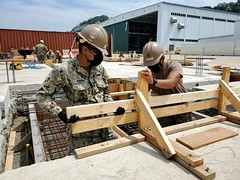 NMCB-5 Seabees work on a construction site  in support of Naval Beach Unit 7 in Sasebo, Japan, May 27. (U.S. Navy/Lt.j.g. Caleb Lennon)