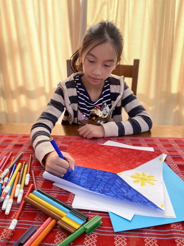 Yvaine Betito making her own Philippine Flag