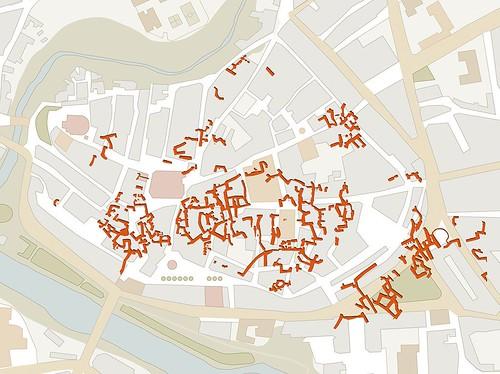 Mapa de las bodegas subterráneas de Aranda de Duero