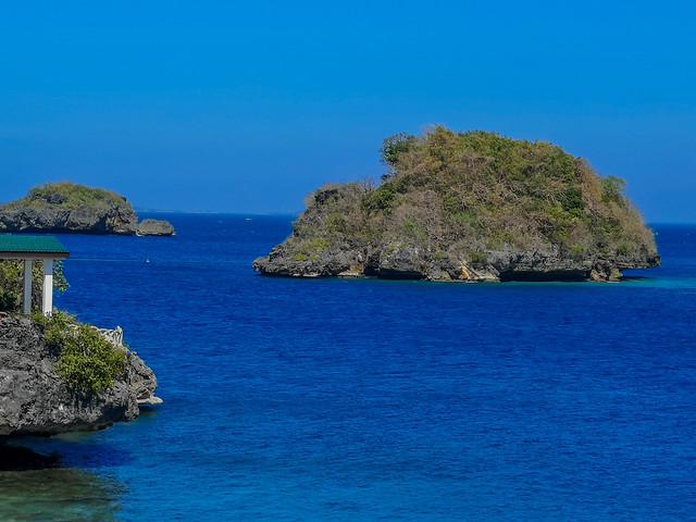Small rocky islands in tropical sea.