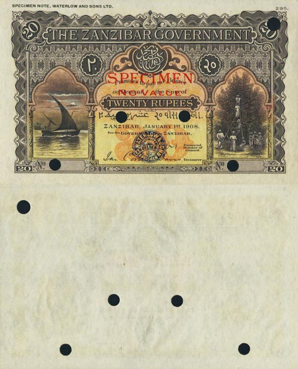 Zanzibar Government 20 Rupees 1.1.1908 Pick 4cts Color Trial Specimen