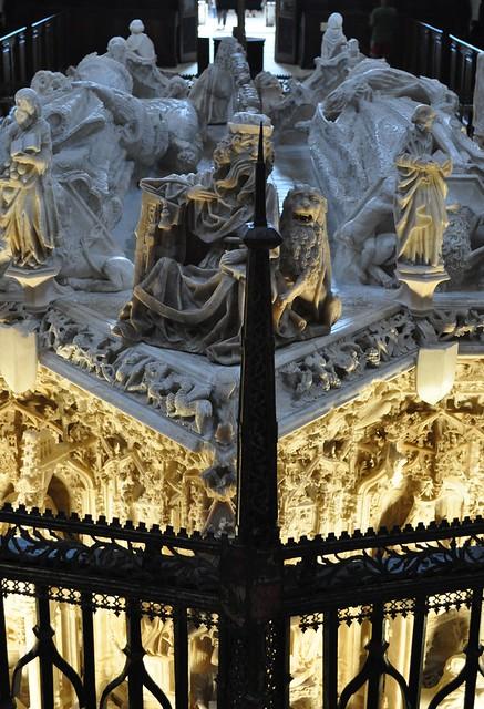 Tombeau du roi Jean II de Castille (1405-1454) et d'Isabelle de Portugal (1428-1496), Gil de Siloé, chartreuse gothique Santa Maria de Miraflores, XVe siècle, Burgos, Castille-Léon, Espagne.