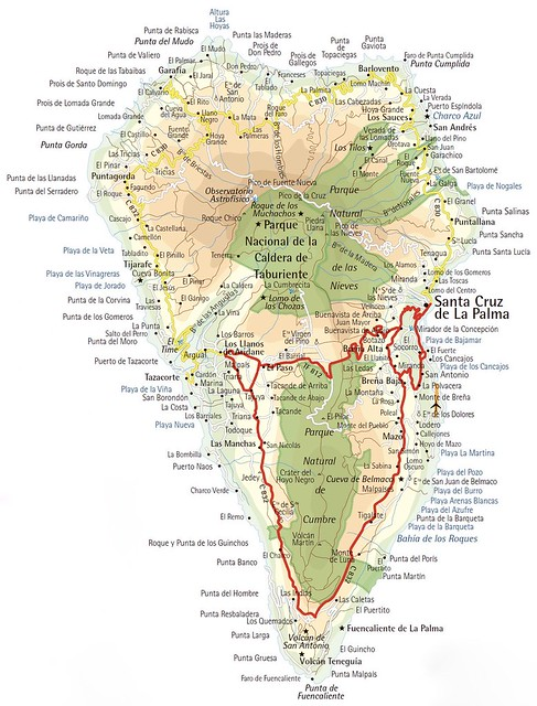 Mapa de la isla de La Palma en Canarias