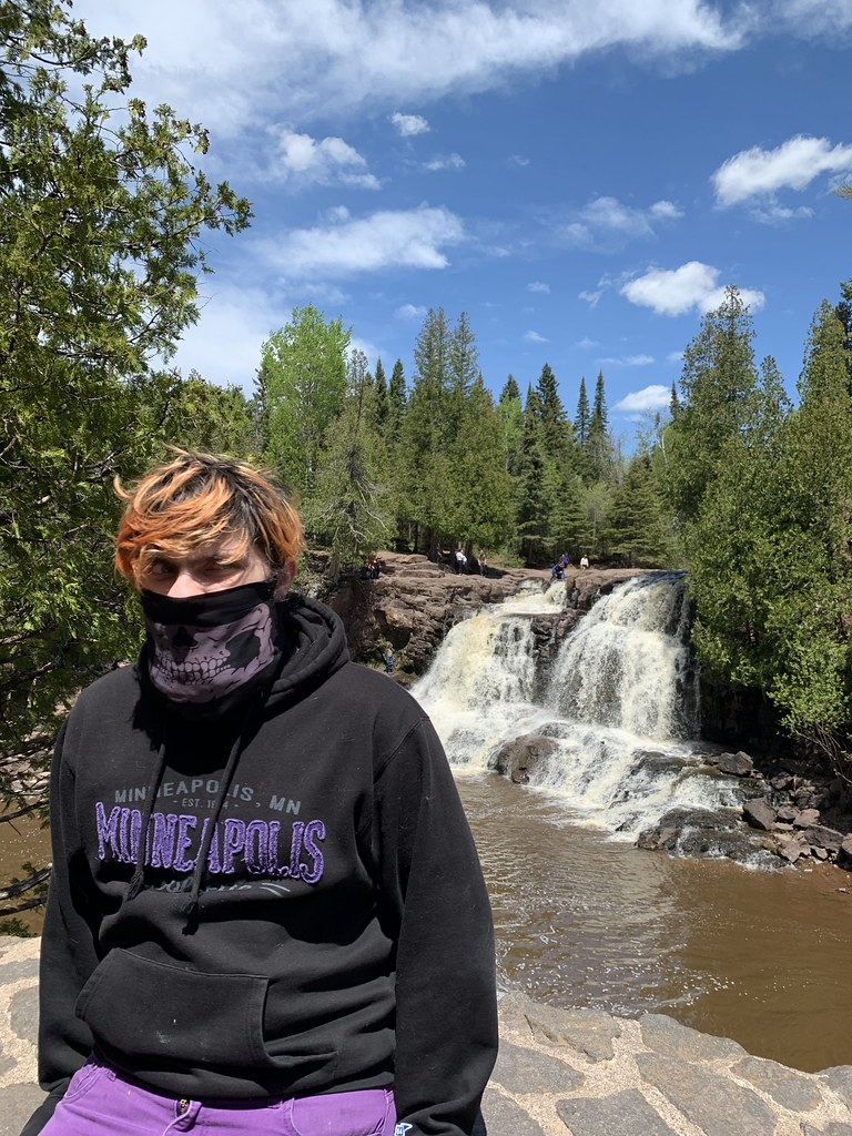 My son, wearing a mask, at Gooseberry Falls