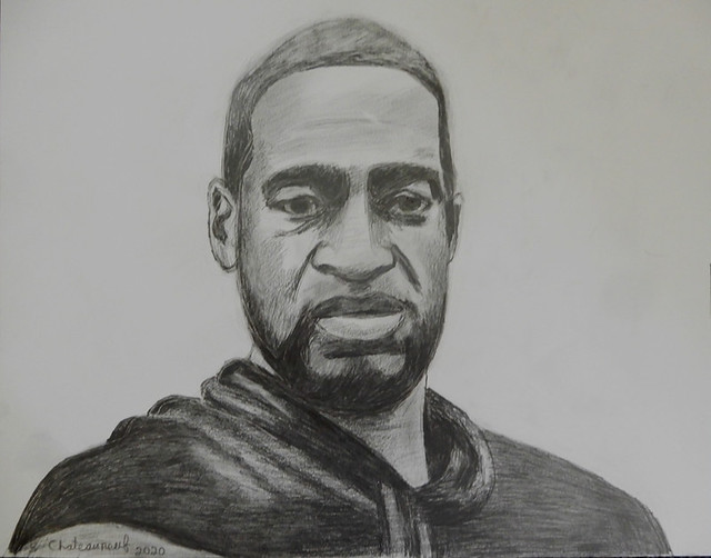 George Floyd - Pencil Drawing by STEVEN CHATEAUNEUF - (2020)