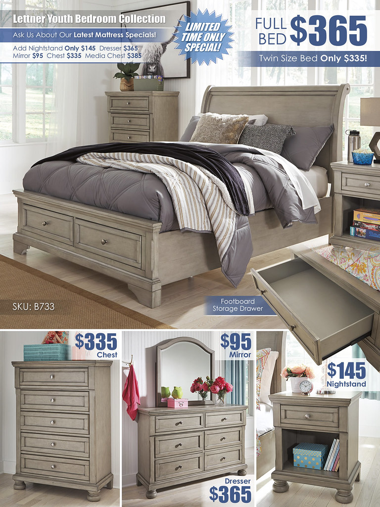Lettner Youth Bedroom A La Carte_Layout_B733-53-MOOD-V_FullBed
