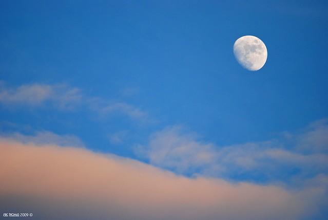 Moon with Blue Sky