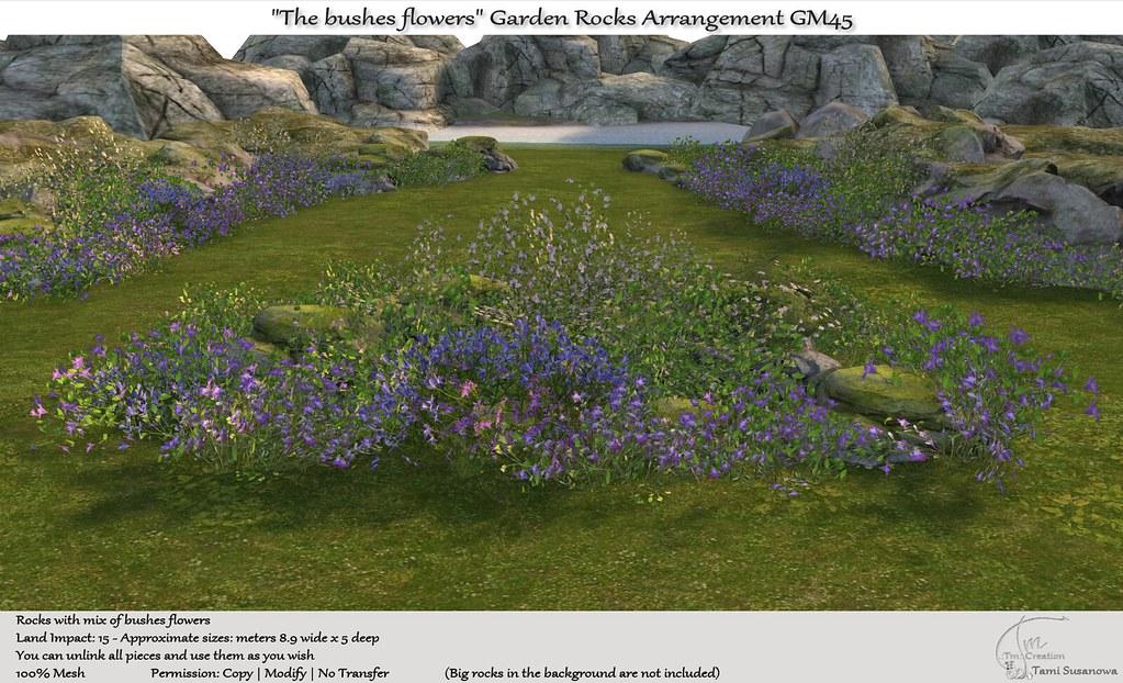 ".:Tm:.Creation ""The bushes flowers"" Garden Rocks Arrangement GM45"