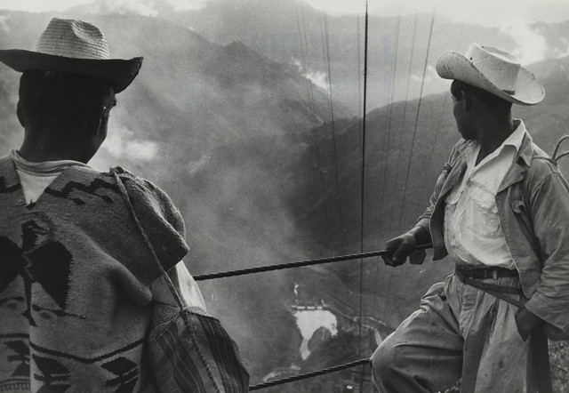 Workers waiting to descend to hydroelectric power station, Mexico, 1958
