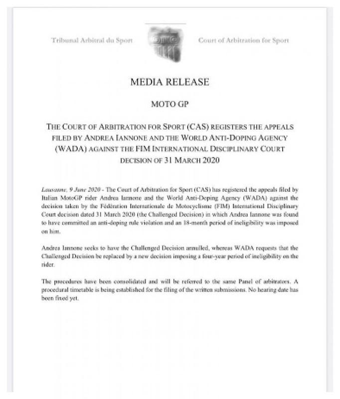 CAS Media Release Andrea Iannone