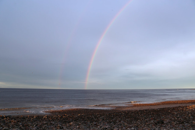 Rainbow over the Moray Firth at Kingston on Spey