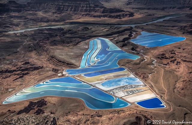 Intrepid Potash Evaporation Ponds Aerial View in Moab, Utah
