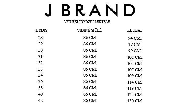 J Brand vyriškų dydžių lentelė