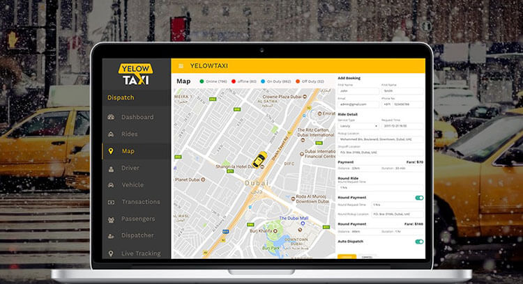 booking a taxi service