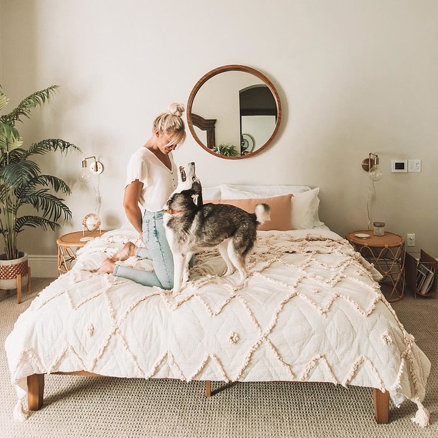 Woman and Dog in bedroom