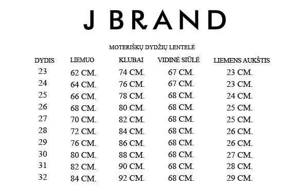 J Brand moteriškų dydžių lentelė
