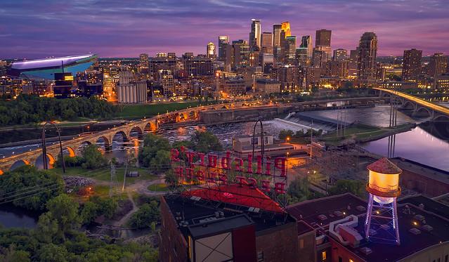 minneapolis minnesota mn downtown skyline cityscape sunset