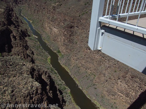 Looking over the edge of the Rio Grande Gorge Bridge.  A couple of observation decks off the side of the bridge are pretty cool. Rio Grande del Norte National Monument, New Mexico