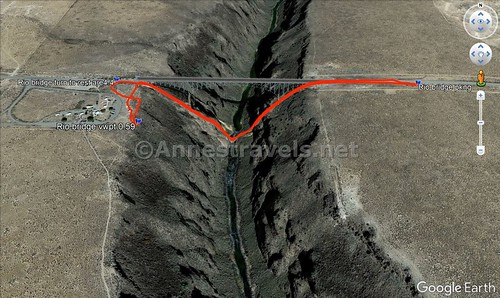 Visual trail map of my hike (sort of!) across the Rio Grande Gorge Bridge... except that I walked across the bridge! Rio Grande del Norte National Monument, New Mexico