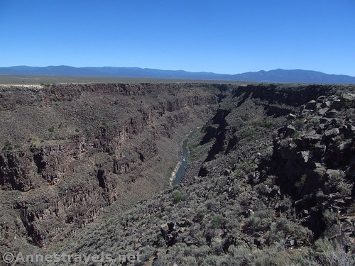 Views south from the Rio Grande Gorge Rest Area viewpoint, Rio Grande del Norte National Monument, New Mexico