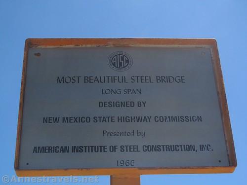"""The sign commemorating the """"Most Beautiful Steel Bridge"""" award at the Rio Grande Gorge Bridge, Rio Grande del Norte National Monument, New Mexico"""