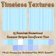 TT 15 Seamless Sensational Summer Stripes Cornflower Timeless Text
