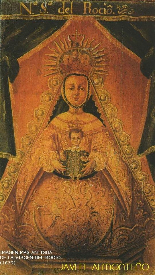 Pintura de la Virgen del Rocío en el respaldo de una silla de 1679