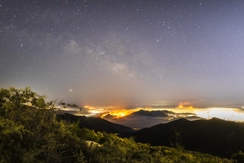 Milky Way Glows Over Wildfires Southeast of Otay Mesa in Mexico.