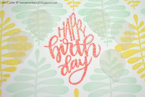 Jen Carter Say it in Diamonds Yellow Mint Coral Birthday Closeup
