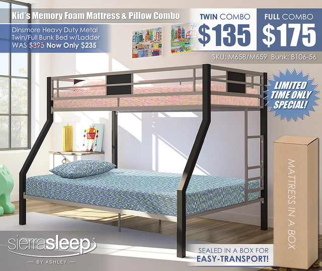 Sierra Sleep 7in Mattress & Dinsmore Bunk B106_M658-M659