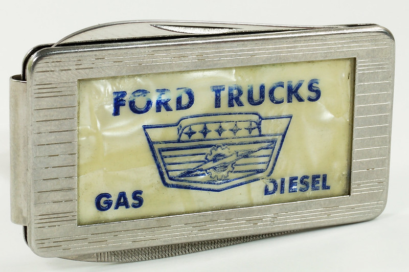 RD29082 Vintage Ford Trucks Gas Diesel Imperial Stainless Pocket Knife Money Clip DSC07651