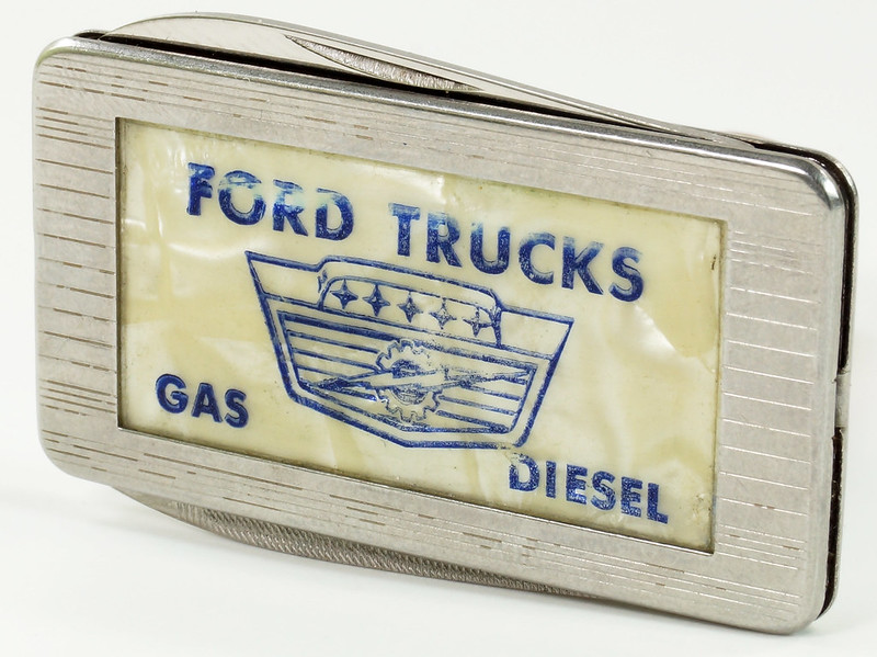 RD29082 Vintage Ford Trucks Gas Diesel Imperial Stainless Pocket Knife Money Clip DSC07650