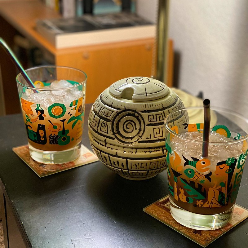 #kvpinmybelly Cheers to the Dark Side! Delightful #MandatoryMugMonday with @oldmanmerrell. Showing off the Death Star from @geektiki for Disney Mug night. Learning how to make a Constantino Special with Luxardo and bourbon. NOM! #latergram #cockails #bour