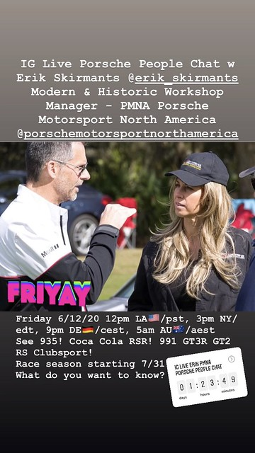Instagram Live Porsche People Chat w Erik Skirmants @erik_skirmants  Modern & Historic Workshop Manager - PMNA Porsche Motorsport North America