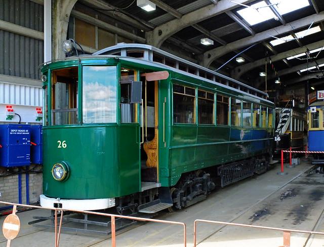 Gateshead & Immingham Tram (B.R.) No.26 inside Beamish depot. Apr'14
