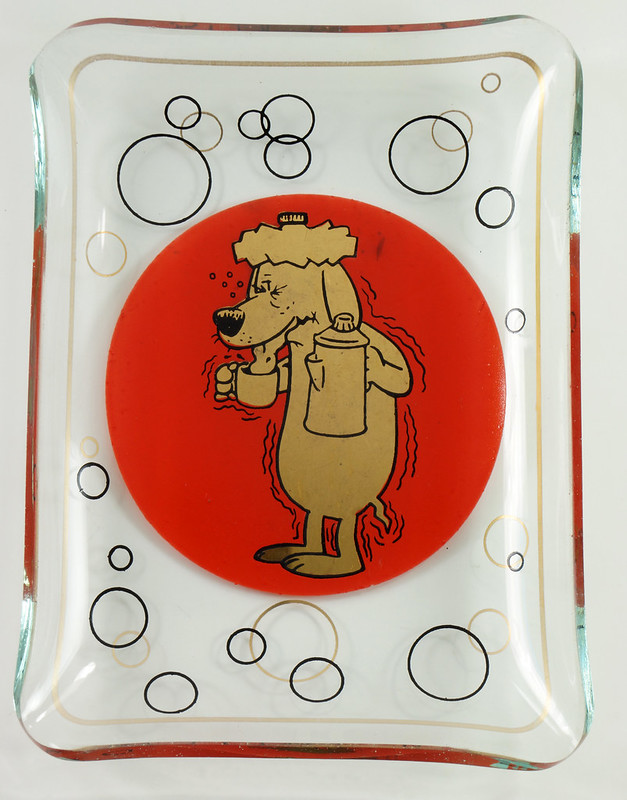 RD26431 2 Mid Century Cocktail Barware Glass Trays Martini Dog Hangover Red and Shiny Gold DSC07738