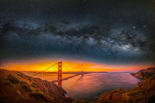 San Francisco Bay Golden Gate Bridge Milky Way Fuji GFX100 Fine Art Landscape Nature Photography! Ocean Art Seascape Elliot McGucken Fuji GFX 100 Medium Format American West 45EPIC 45SURF dx4/dt=ic GFX Venus Laowa 17mm f/1.8 Wide Angle Lens