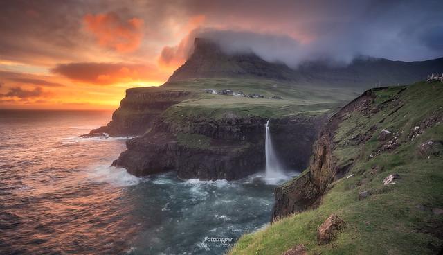 'Hot Coals' Múlafossur Faroe Islands