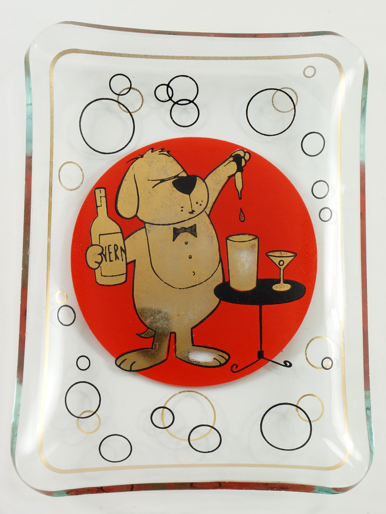 RD26431 2 Mid Century Cocktail Barware Glass Trays Martini Dog Hangover Red and Shiny Gold DSC07735