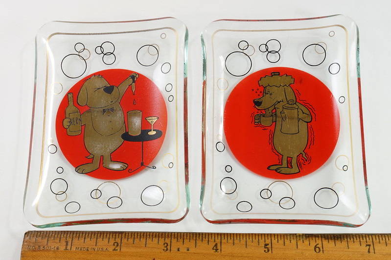 RD26431 2 Mid Century Cocktail Barware Glass Trays Martini Dog Hangover Red and Shiny Gold DSC07732